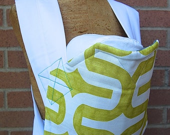 Reversible Mei Tai Carrier - Grey Flowers and Lime Design