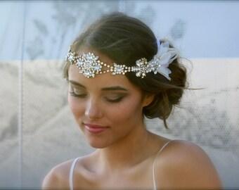 Vintage Swarovski Crystal Hippie Headband with Silk Petal Sides- Layla