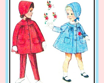 Vintage 1960s-SUNDAY BEST-Toddler Swing  Coat- Suspender Pants-Bonnet-Sewing Pattern-Patch Pockets-Piping-Ribbon-Lace Edging-Size Half-Rare