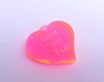 Love not Fear Disability Rights Heart Pendant