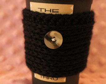 Textured Travel Mug Cozy with Wood inspired button