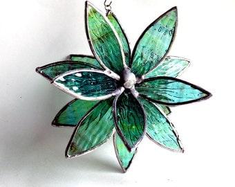 3D Stained Glass Suncatcher - In Full Bloom Water Ripple Flower