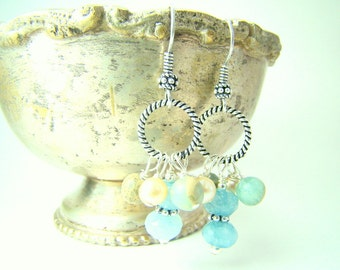 Gemstone and pearl dangle earrings, pale blue aquamarine, creamy freshwater pearls, African opal