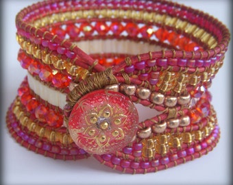 Handwoven Beaded Distressed Red Leather Wide Cuff 320+ Beads 7 rows Handpainted Czech Glass Flower Button Tila Crystal Miyuki Gift