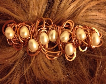 Medium Copper Wire Wrapped Barrette with White Glass Pearls