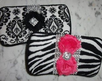 Damask or Zebra with Chiffon Shabby rosed Diaper Wipey case for Diaper Bag Baby Shower gift