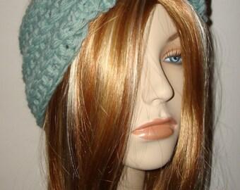 Crochet Mobius Button Headwrap/Headband/Earwarmer/Wool Blended/Warm Winter Headband/Fall-Winter Fashion Accessories