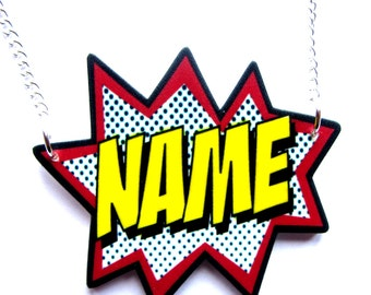 Comic Necklace Custom Name by Dolly Cool Personalized Superhero Sound FX Style