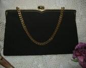 Vintage Darkest brown suede bag, small brown sued leather Coblentz evening bag, brown clutch or chain evening bag