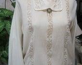 Vintage Ivory beige Edwardian blouse, turn of the century antique blouse,  openwork silk Edwardian blouse size M