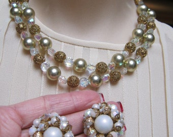 Vintage Double strand faux golden pearl necklace earrings set, faux cream pearls and filigree beads and crystals and Judy Lee clip earrings
