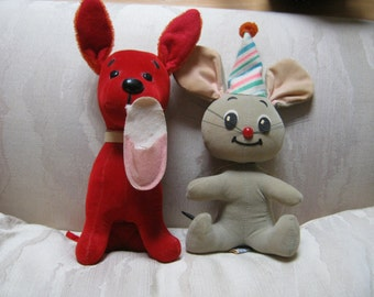 Vintage 2 Dream Pets stuffed animal toys, retro stuffed red dog and grey mouse child pets
