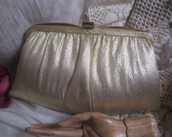 Vintage golden evening bag, woven glimmery fabric dressy bag golden clutch or chain bag, wedding bag by Ande'