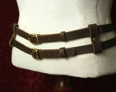 Steampunk Double leather Belt Military/ Tank Girl inspired. Brown, black or charcoal Leather & brass- Men / Women browncoat SCA LARP costume