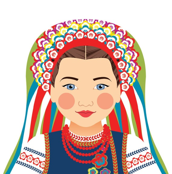 Ukrainian Wall Art Print features cultural traditional dress drawn in a Russian matryoshka nesting doll shape
