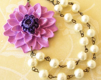 Statement Necklace Flower Necklace Lavender Jewelry Purple Necklace Bridesmaid Jewelry Beaded Necklace Gift For Her