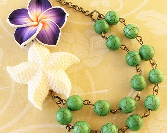 Pendant Necklace Starfish Jewelry Flower Necklace Bridesmaid Jewelry Starfish Necklace Bib Green Necklace Beaded