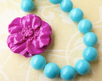 Flower Necklace Statement Necklace Turquoise Jewelry Purple Necklace Beaded Necklace Bridesmaid Jewelry