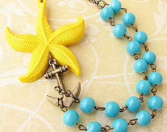 Statement Necklace Starfish Jewelry Anchor Necklace Beaded Necklace Turquoise Jewelry Yellow Necklace