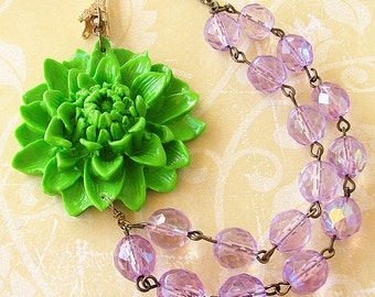 Statement Necklace Flower Necklace Bridesmaid Jewelry Green Necklace Purple Necklace Bib Necklace Holiday Gift