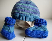 blue wool cotton baby hat and booties set