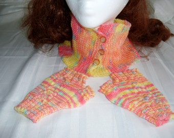 pink and yellow cowl and fingerless glove set