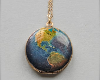 The World Vintage Art Locket Necklace Planet Earth Jewelry
