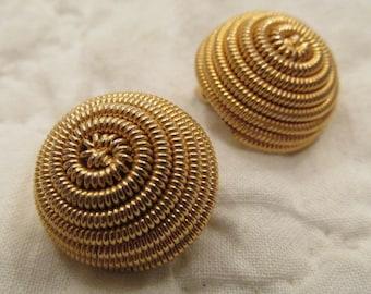 Vintage Clip Earrings Gold Tone Metal SALE