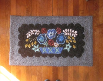 Electric Blues Hand Hooked Upcycled Wool Thro Rug