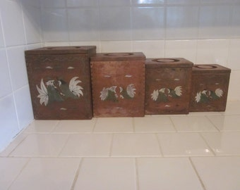 Vintage 4 Piece Wooden Cannister Set with Roosters in Green