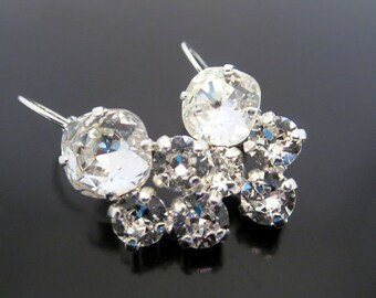 Bridal crystal earrings, Swarovski crystal earrings, Wedding earrings, Bridesmaid earrings, Crystal drop earrings