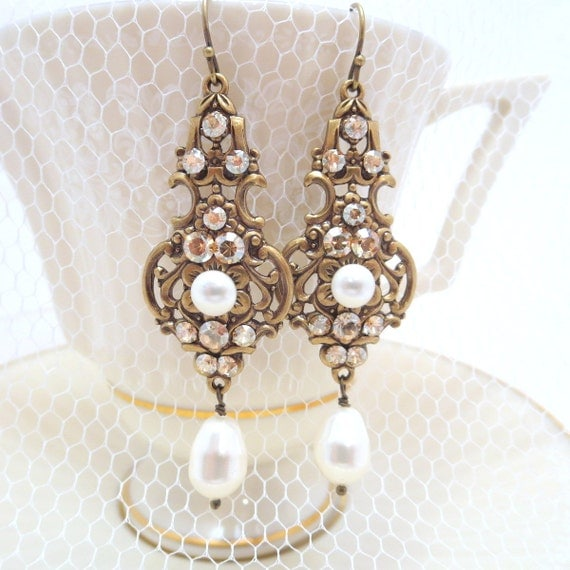 Champagne bridal earrings wedding jewelry pearl by for Jewelry for champagne wedding dress