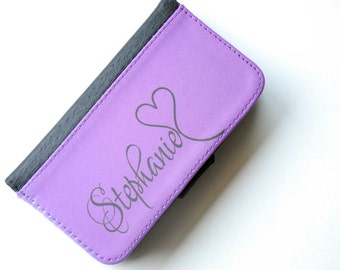 iPhone 6 Purple + Black Monogrammed Bifold Wallet Phone Case, iPhone 6 Plus