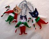 Cat Ornaments, Vintage Style Chenille, Primitive Christmas Ornaments, Santa Cats  (115)