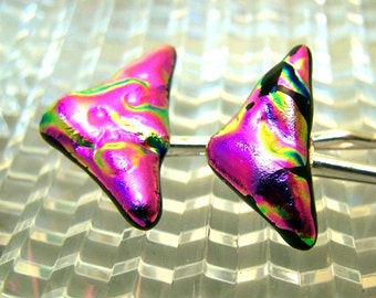 Magenta Pink DICHROIC Pair of Bobby Pins- Hair Pins by Leslie Dana One of a Kind ART GLASS