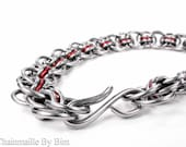 Chainmaille Bracelet - Helms Weave Pattern - Red