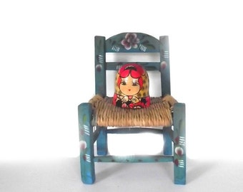 Mexican Chair / Folk Doll Chair / Miniature Chair / Boho Decor Cottage Chic