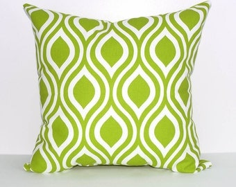 Green Pillow, Premier Prints Nicole Chartreuse Green and White Ogee Decorative Throw Pillow Free Shipping