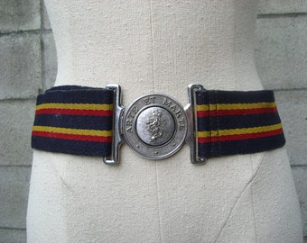 Woven Stripe Belt Vintage 1970s Blue Yellow Red Wide
