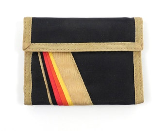 Vintage 1980s Black and Tan Rainbow Velcro Wallet