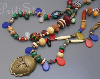 Vintage Tribal  Necklace Brass Face Mask Glass Malachite Bead Beaded Africa Jewelry