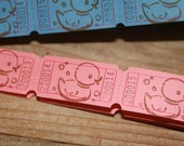 24  PINK or BLUE  Hand stamped Baby Shower Carnival Tickets - Raffle Ticket - Door Prize Tickets