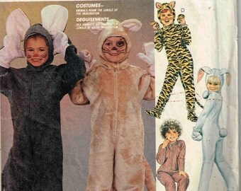 Toddler Size 2, 4 Children Mouse Bunny Bear Leopard Halloween Costume Sewing Pattern McCalls 2624 9233 Children Boys Girls