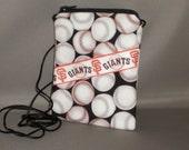 Wallet on a String - Sling Purse - Small Mini Bag Purse - Zipper Pouch - Baseball - Giants