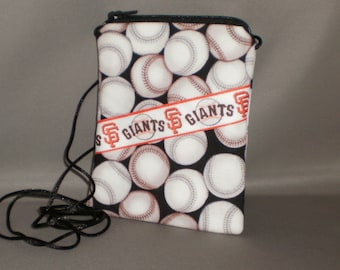Wallet on a String - Sling Purse - Small Mini Bag Purse - Zipper Pouch - Baseball - Giants