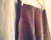 Simple Vintage Tan Suede Skirt
