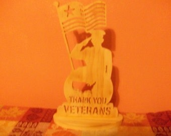 Wooden thank you veterans display