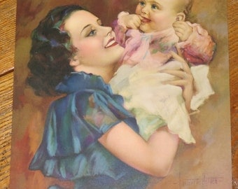 1930's antique lithograph print by lauretta Ritten? 9315 happiness Mother and Child Baby fine art print calendar piece