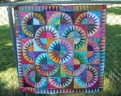 Handmade Patchwork Batik Lap Quilt or Wall Hanging New York Beauty