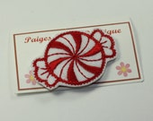 """2"""" Red & White Felt Peppermint Cany- Snap Clip-Baby Hair Clip-Toddler Hair Clip-Fine Hair Clip-Alligator Clip"""